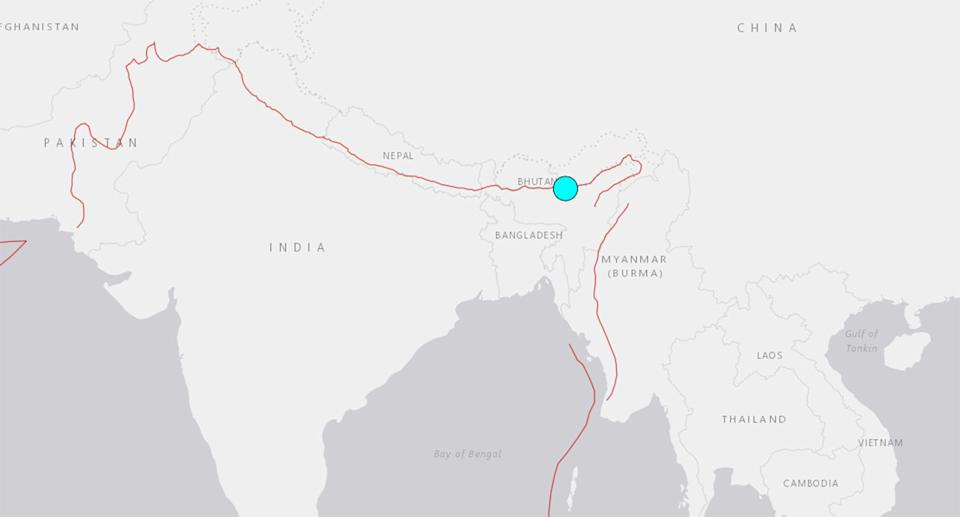 The magnitude 6 earthquake struck Assam on Wednesday morning. Source: USGS