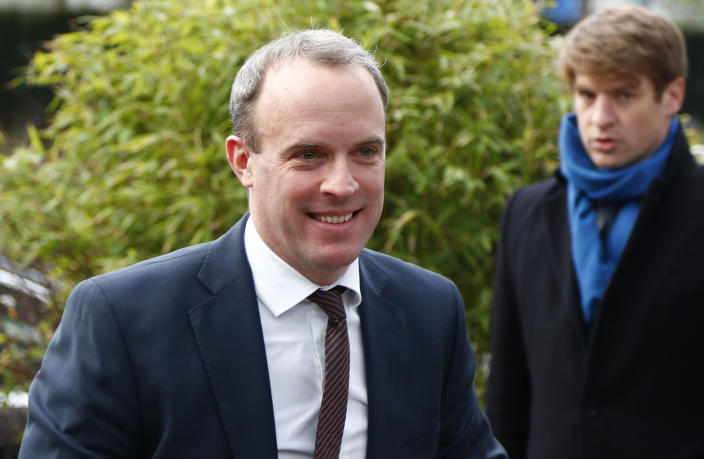 "Foreign Secretary Dominic Raab said the arrest was a ""flagrant violation"" of international law. (AP)"