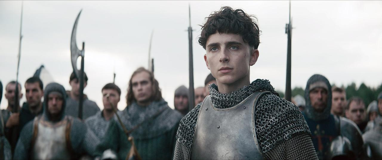 """<p> Prince Hal (Timothée Chalamet) is crowned King Henry V after his father passes away. As a new ruler, Hal has to face all the hostilities and politics that his father left behind as he battles for England. </p> <p><a href=""""http://www.netflix.com/title/80182016"""" target=""""_blank"""" class=""""ga-track"""" data-ga-category=""""Related"""" data-ga-label=""""http://www.netflix.com/title/80182016"""" data-ga-action=""""In-Line Links"""">Watch<strong> The King </strong>now.</a></p>"""