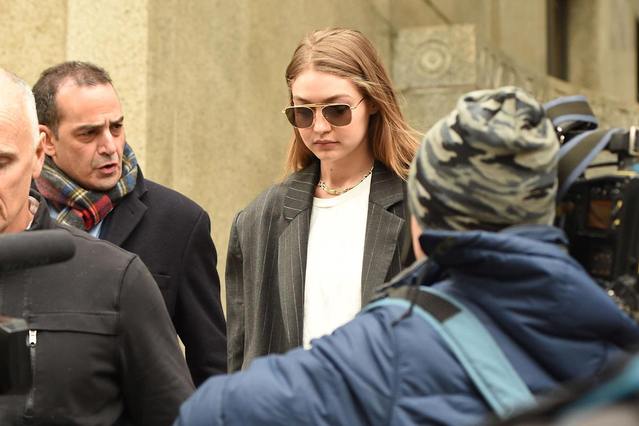 """On Jan. 13, 2020, the 24-year-old model was called to Manhattan Supreme Court and <a href=""""https://people.com/crime/gigi-hadid-potential-juror-harvey-weinstein-trial-new-york/"""">questioned as a potential juror</a> for the high-profile rape trial of disgraced Hollywood producer, Harvey Weinstein.  Hadid told the judge that she had met Weinstein and potential witness Salma Hayek, but said, """"I think I am still able to keep an open mind on the facts,"""" <a href=""""https://www.buzzfeednews.com/article/nishitajha/gigi-hadid-harvey-weinstein-jury-selection"""">according to <em>Buzzfeed News</em></a>.  Hadid made it through the initial questioning and will return to court.  Before Hadid knew that she would be part of Weinstein's trial, she <a href=""""http://www.justjared.com/photo-gallery/4415427/gigi-hadid-jury-duty/"""">wrote on Instagram</a> on Jan. 5, 2020, """"This week a dream came true. I've been summoned for jury duty, y'all.""""  """"I'd like to thank the state of New York,"""" she added. """"My mom and @vesperw seemed concerned by my genuine excitement… I realize it will prob suck. Let me dream."""""""