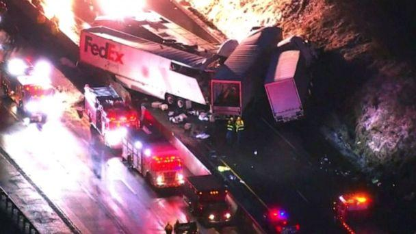 PHOTO: Emergency crews respond to a fatal crash on the Pennsylvania Turnpike in Mount Pleasant Township, Jan. 5, 2020. (WTAE)