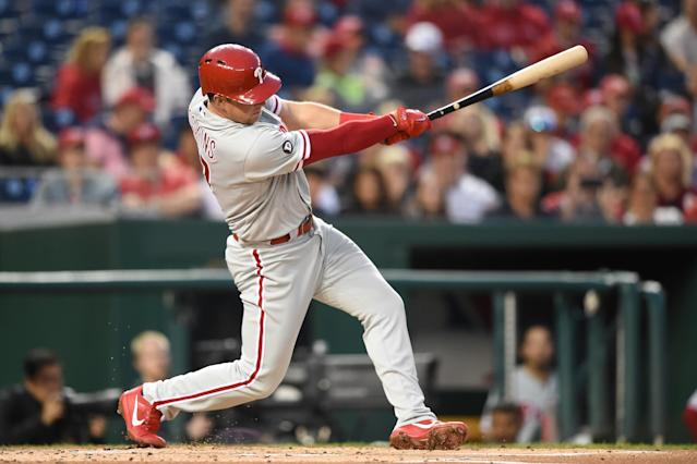 Rhys Hoskins just keeps hitting home runs. (Getty Images)