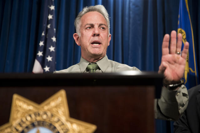 Clark County Sheriff Joe Lombardo discusses the Route 91 Harvest festival mass shooting at the Las Vegas Metropolitan Police Department headquarters on Oct. 9, 2017. (Photo: Erik Verduzco/Las Vegas Review-Journal via AP)