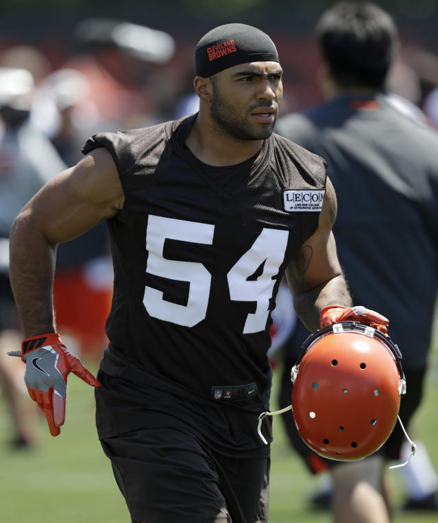 "FILE - In this July 26, 2018, file photo, Cleveland Browns' Mychal Kendricks attends NFL football training camp in Berea, Ohio. Former Browns linebacker Kendricks has pleaded guilty to insider trading charges in a Philadelphia courtroom. The 27-year-old told the judge on Thursday, Sept. 6, 2018, he knows he was wrong and entered the guilty plea because ""it's the right thing to do."" (AP Photo/Tony Dejak, File)"