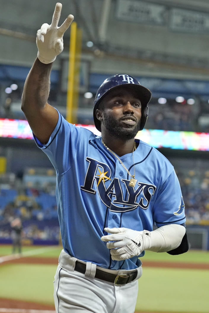 Tampa Bay Rays' Randy Arozarena reacts after his solo home run off Boston Red Sox starting pitcher Martin Perez during the fourth inning of a baseball game Friday, July 30, 2021, in St. Petersburg, Fla. (AP Photo/Chris O'Meara)