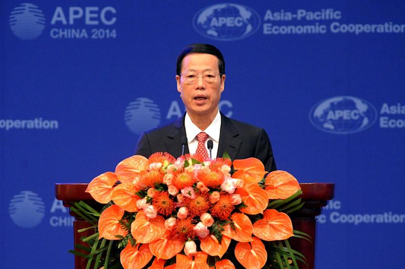 Chinese Vice-Premier Zhang Gaoli speaks during the opening ceremony of the Asia-Pacific Economic Cooperation Finance Ministers's Meeting in Beijing on October 22, 2014 (AFP Photo/Wang Zhao)
