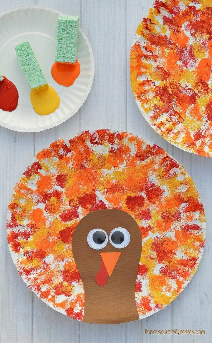 """<p>Your kids will love sponge painting the turkey's """"feathers,"""" while you'll adore how inexpensive crafting with paper plates can be.</p><p><strong>Get the tutorial at <a href=""""https://www.theresourcefulmama.com/sponged-painted-thanksgiving-turkey-craft/"""" rel=""""nofollow noopener"""" target=""""_blank"""" data-ylk=""""slk:The Resourceful Mama"""" class=""""link rapid-noclick-resp"""">The Resourceful Mama</a>.</strong></p><p><a class=""""link rapid-noclick-resp"""" href=""""https://www.amazon.com/Disposable-White-Uncoated-Paper-Plates/dp/B07VBWPGRZ/ref=asc_df_B07VBWPGRZ/?tag=syn-yahoo-20&ascsubtag=%5Bartid%7C10050.g.1201%5Bsrc%7Cyahoo-us"""" rel=""""nofollow noopener"""" target=""""_blank"""" data-ylk=""""slk:SHOP PAPER PLATES"""">SHOP PAPER PLATES</a><br></p>"""