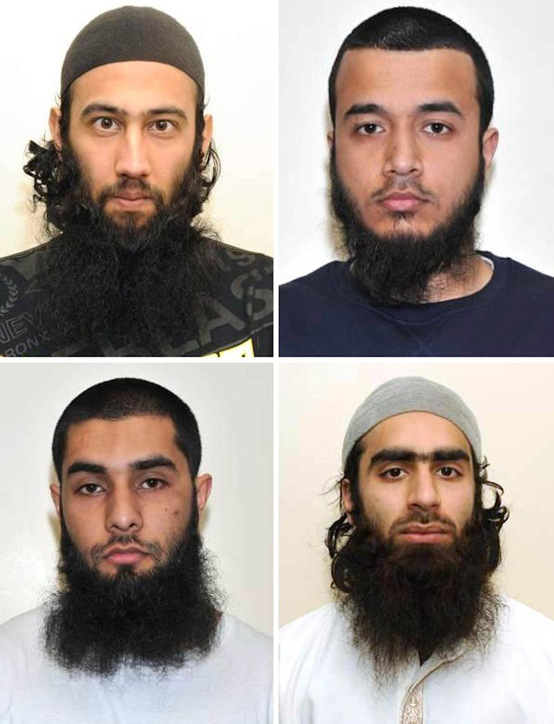 This is an undated handout photo issued by London's Metropolitan Police of top row left to right, Zahid Iqbal, Mohammed Sharfaraz Ahmed and bottom row left to right Umar Arshad and  Syed Farhan Hussain. The  four men have been jailed in Britain for discussing plans to carry out a terrorist attack using homemade guns and bombs. they pleaded guilty in March to engaging in conduct in preparation for acts of terrorism. (AP Photo/Metropolitan Police)