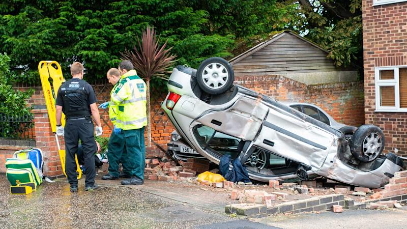 Emergency services at a drink driving accident in Clacton on Sea Essex UK