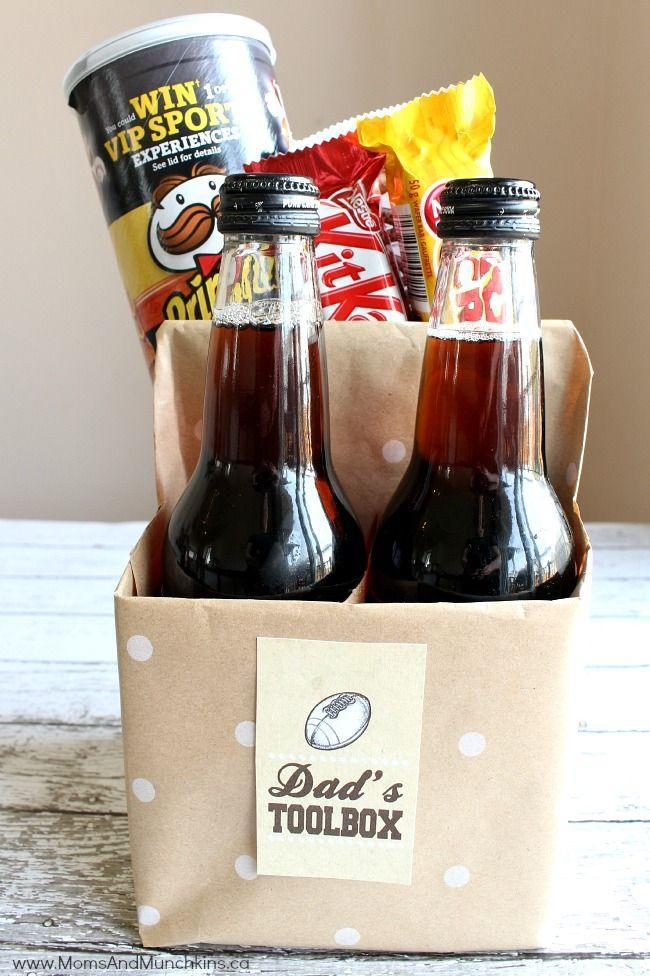 """<p>For an easy last-minute DIY gift, wrap a cardboard four-pack container in cute wrapping paper and add Dad's favorite snacks.</p><p><strong><em>Get the tutorial at <a href=""""http://www.momsandmunchkins.ca/2015/06/05/dads-toolbox-free-printable/#_a5y_p=3868029"""" rel=""""nofollow noopener"""" target=""""_blank"""" data-ylk=""""slk:Moms and Munchkins"""" class=""""link rapid-noclick-resp"""">Moms and Munchkins</a>.</em></strong></p>"""