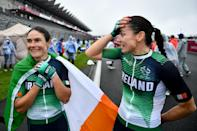 <p>Pipping Great Britain's Sophie Unwin to the post, Ireland's Katie-George Dunlevy took gold in the women's B road race, finishing in a time of 2:35:53.</p>