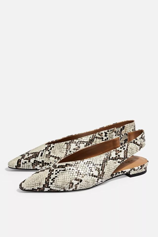 "<p>These <a href=""https://www.popsugar.com/buy/Topshop%20Abella%20Slingback%20Shoes-473536?p_name=Topshop%20Abella%20Slingback%20Shoes&retailer=us.topshop.com&price=35&evar1=fab%3Aus&evar9=46433272&evar98=https%3A%2F%2Fwww.popsugar.com%2Ffashion%2Fphoto-gallery%2F46433272%2Fimage%2F46433288%2FTopshop-Abella-Slingback-Shoes&list1=shopping%2Csandals%2Cshoes%2Cflats&prop13=api&pdata=1"" rel=""nofollow"" data-shoppable-link=""1"" target=""_blank"" class=""ga-track"" data-ga-category=""Related"" data-ga-label=""https://us.topshop.com/en/tsus/product/abella-slingback-shoes-8499275"" data-ga-action=""In-Line Links"">Topshop Abella Slingback Shoes</a> ($35) are so modern.</p>"