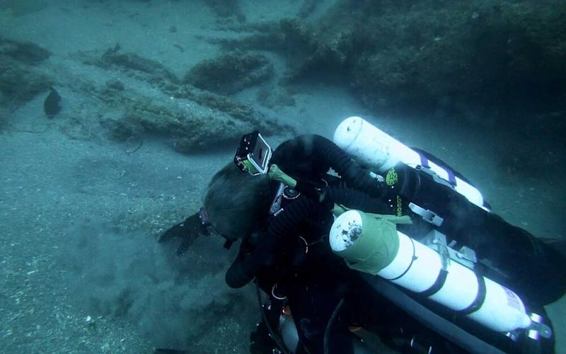 Michael C Barnette on the wreck of the SS Cotopaxi searching for clues.   Courtesy of Science Channel