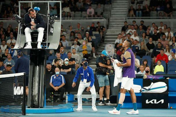 PHOTO: Fans look on as Nick Kyrgios of Australia speaks to the chair umpire in his Men's Singles third round match against Dominic Thiem of Austria during day five of the 2021 Australian Open at Melbourne Park on Feb. 12, 2021 in Melbourne, Australia. (Daniel Pockett/Getty Images)
