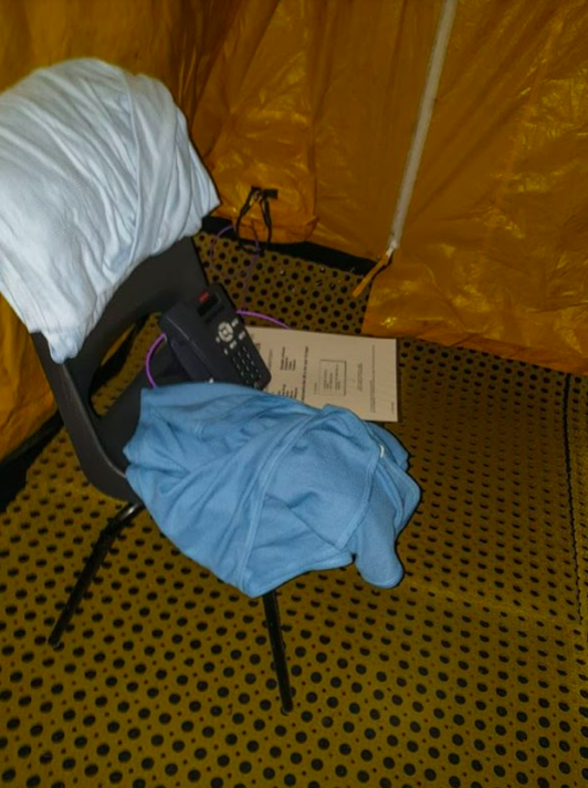 The pod contains nothing but a phone, a chair and instructions to call 111, according to one passer-by. (Reach)