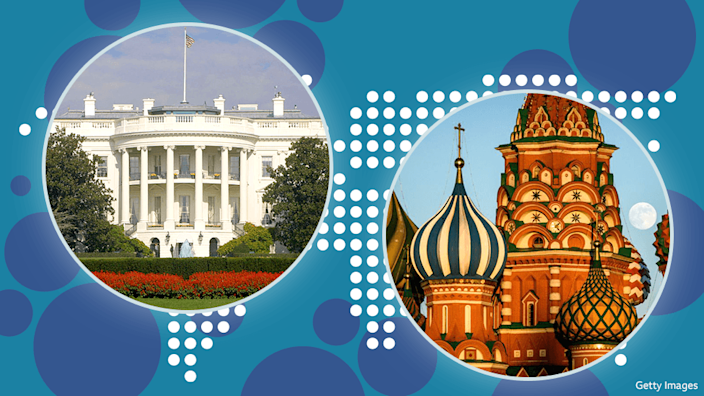 Composite image of White House and Kremlin