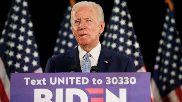 PHOTO: Democratic presidential candidate and former Vice President Joe Biden speaks during a campaign event at Delaware State University in Dover, Del., June 5, 2020. (Jim Bourg/Reuters)