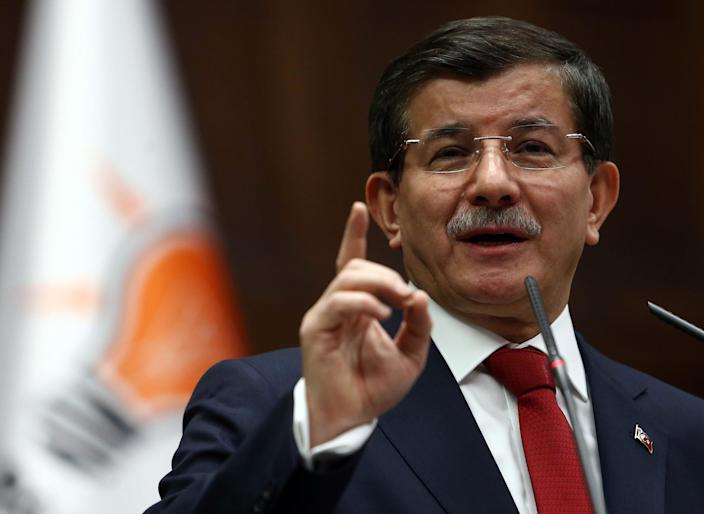 Turkey's Prime Minister Ahmet Davutoglu speaks during a parliamentary group meeting of the ruling Justice and Development Party at the Grand National Assembly of Turkey in Ankara on January 13, 2015 (AFP Photo/Adem Altan)