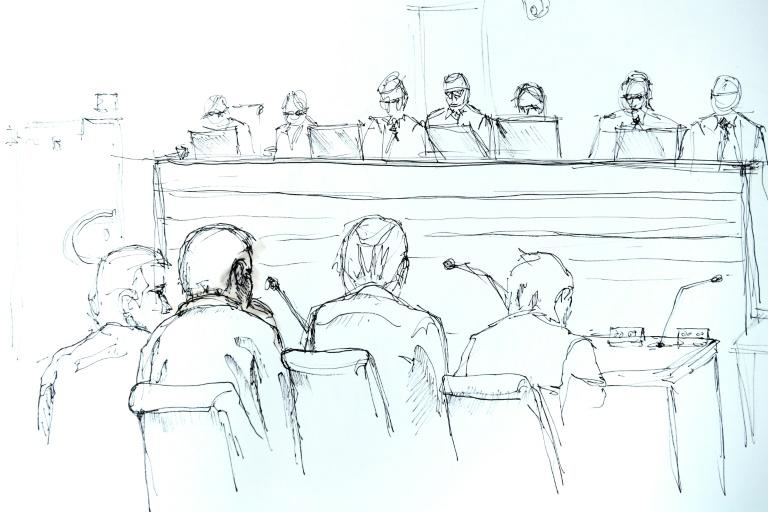 A courtroom sketch from February 13 shows the opening of Rakhmat Akilov's trial, when he pleaded guilty to terrorism charges over the Stockholm truck attack