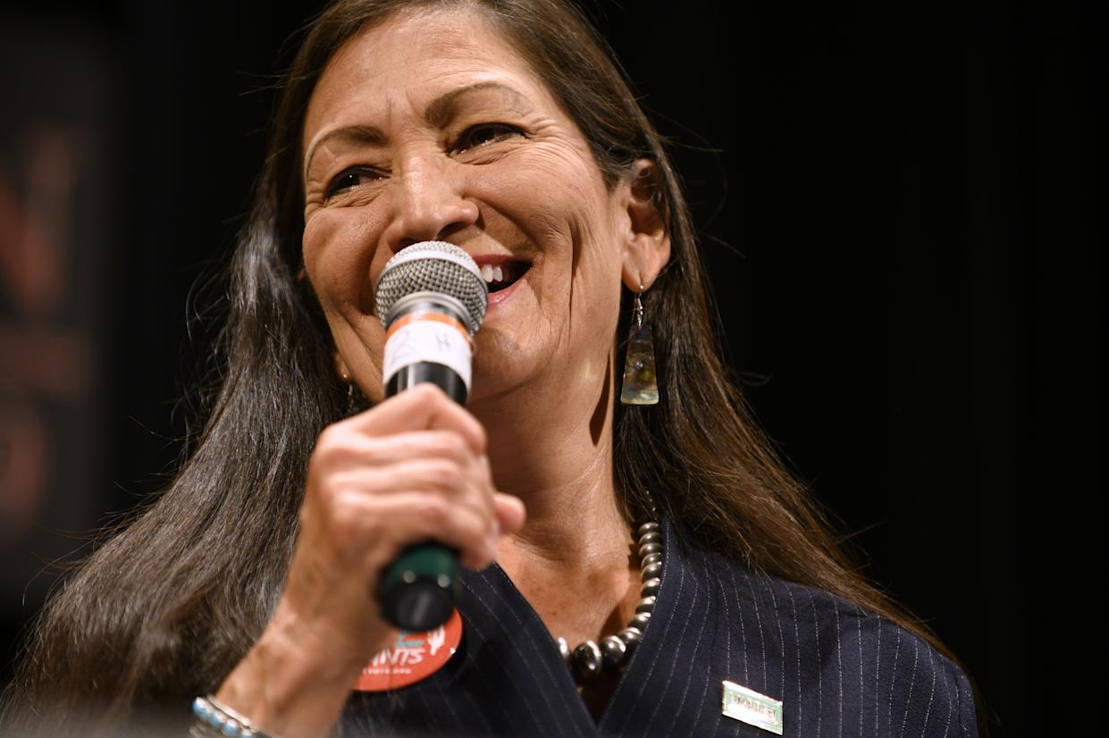 Rep. Deb Haaland (D-NM) speaks at the Frank LaMere Native American Presidential Forum on August 19, 2019 in Sioux City, Iowa.