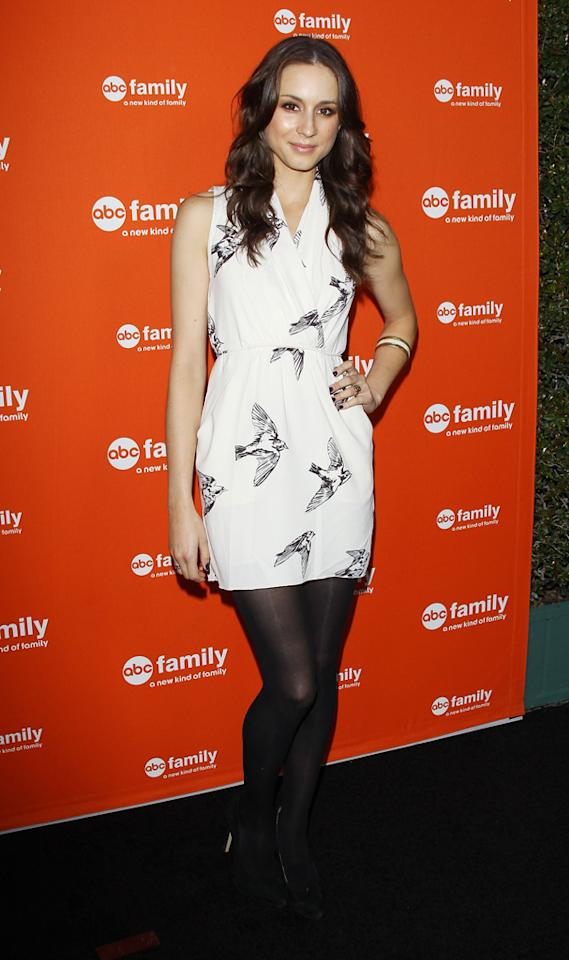 """Troian Bellisario (""""Pretty Little Liars"""") arrives at ABC Family's West Coast Upfronts at The Sayers Club on May 1, 2012 in Hollywood, California."""