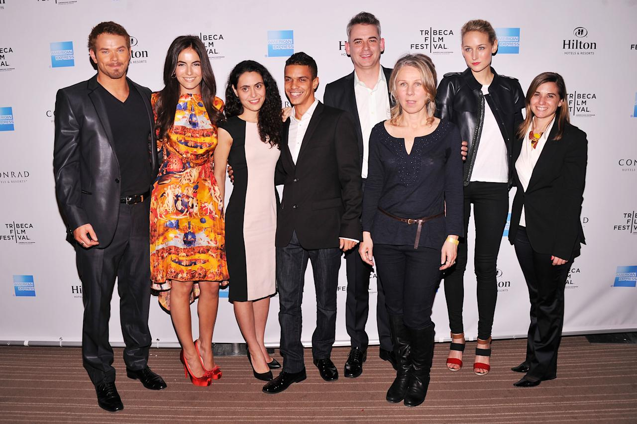NEW YORK, NY - APRIL 26:  (L-R) Kellan Lutz, Camilla Belle, Lucy Mulloy, Courtney Hunt, Zach Helm, Leelee Sobieski, and Deborah Curtis attend the 2012 TFF Awards during the 2012 Tribeca Film Festival at the Conrad Hotel on April 26, 2012 in New York City.  (Photo by Stephen Lovekin/Getty Images)