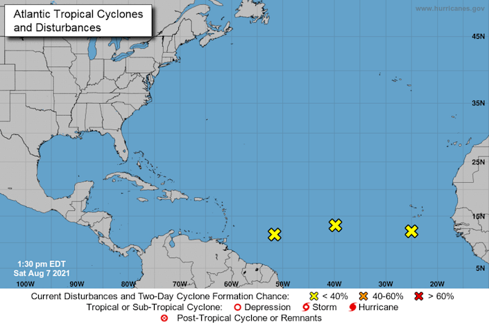 The 2 p.m. Saturday, Aug. 7, 2021, National Hurricane Center advisory eyes three system in the tropical Atlantic waters.