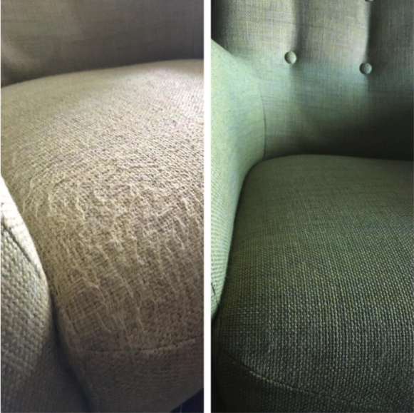 One reviewer shared dramatic before and after images using their Beautural Lint Remover Fabric Shaver and Sweater Defuzzer. Images via Amazon.