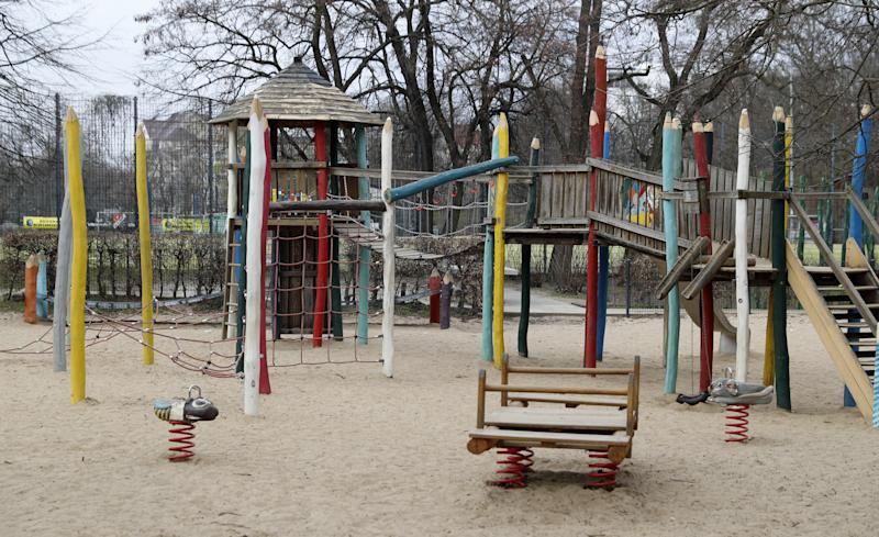 An empty playground is seen at the Volkspark Wilmersdorf during the spread of coronavirus disease (COVID-19) in Berlin, Germany, March 19, 2020. REUTERS/Fabrizio Bensch