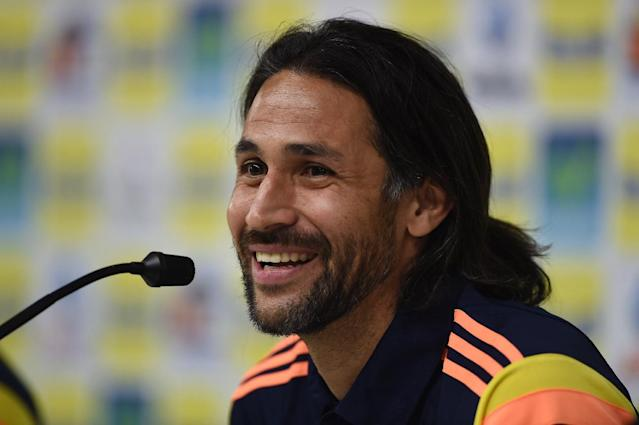 Colombia's defender Mario Alberto Yepes gives a press conference at the President Laudo Natel Athlete Formation Center in Cotia, Sao Paulo, on June 25, 2014 (AFP Photo/Eitan Abramovich)