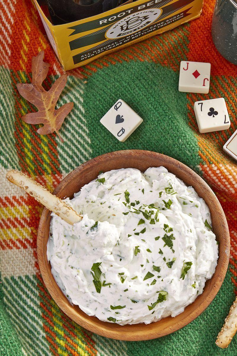 """<p>For most vegetarians, cheese is practically its own food group. Just make a big batch: This rich dip will be gone in minutes.</p><p><strong><a href=""""https://www.countryliving.com/food-drinks/a24407621/herbed-goat-cheese-dip-recipe/"""" rel=""""nofollow noopener"""" target=""""_blank"""" data-ylk=""""slk:Get the recipe"""" class=""""link rapid-noclick-resp"""">Get the recipe</a>.</strong> </p>"""