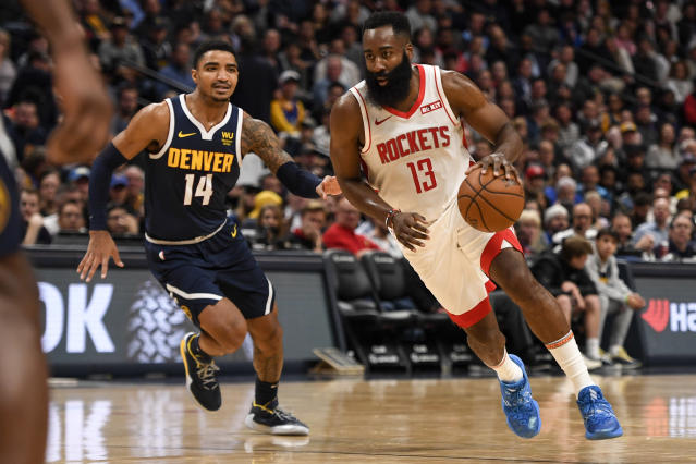 James Harden em jogo contra o Denver Nuggets. (Foto: AAron Ontiveroz/MediaNews Group/The Denver Post via Getty Images)