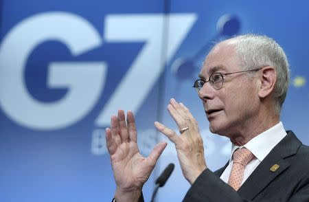 European Council President Herman Van Rompuy speaks during a news conference ahead of a G7 summit at the European Council building in Brussels June 4, 2014. REUTERS/Francois Lenoir