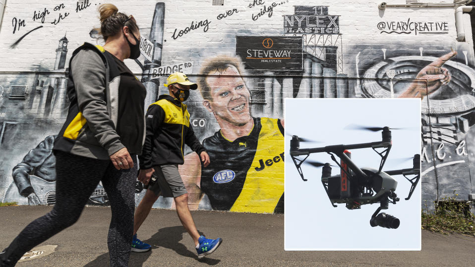 Melbourne residents are pictured wearing Richmond Tigers colours, with an image of a drone inset.