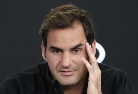 Tennis - Australian Open - Melbourne, Australia, January 14, 2018. Roger Federer of Switzerland reacts during a news conference before the Australian Open tennis tournament. REUTERS/Edgar Su