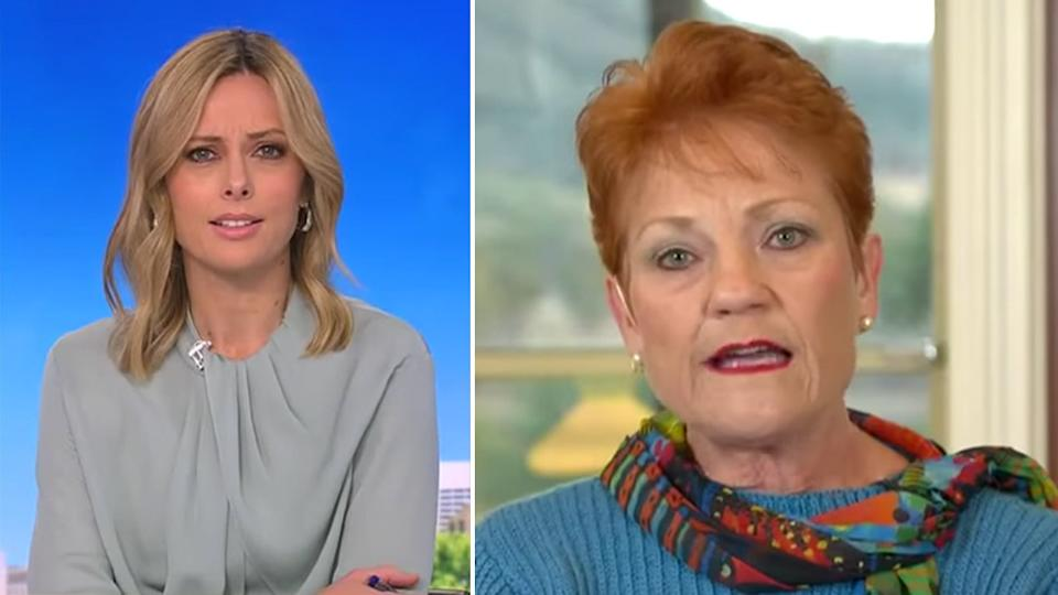 Pauline Hanson, right, will no longer regularly contribute to the Today Show, following her divisive comments over 3000 people forced into lockdown. Ally Langdon is pictured left. Source: Nine News