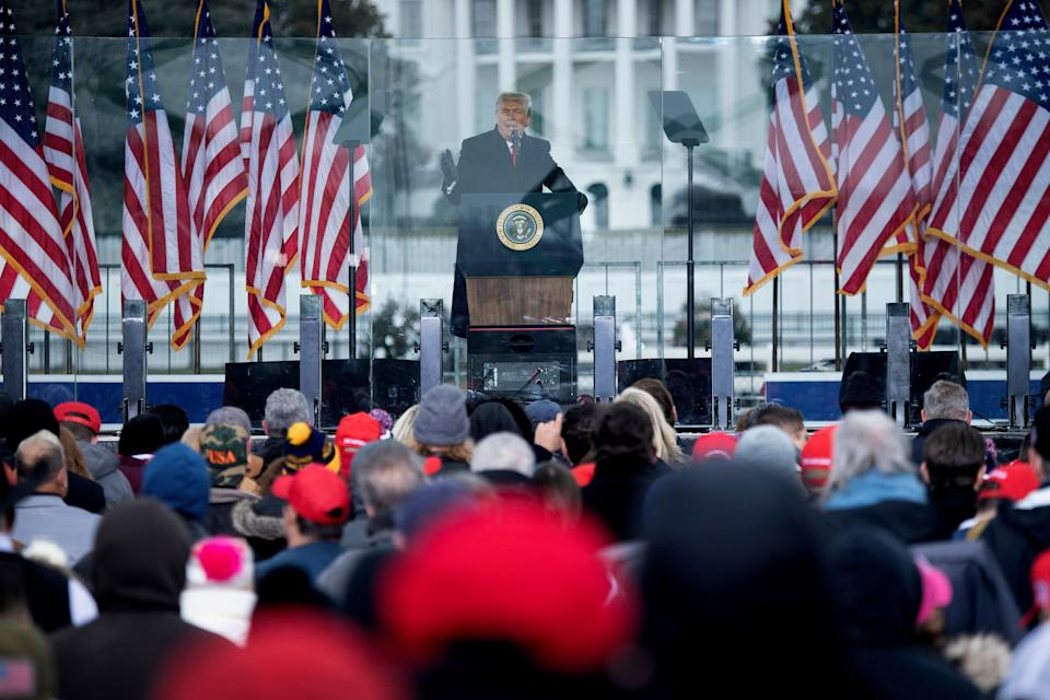 Trump speaks to supporters from the Ellipse near the White House on Jan. 6, before the assault on the Capitol.