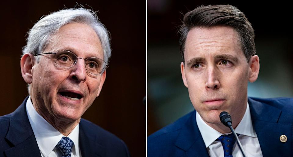 Left: Attorney General nominee Merrick Garland speaks during his confirmation hearing before the Senate Judiciary Committee on Feb. 22. Right: Sen. Josh Hawley (R-Mo.) pauses while speaking during Garland's confirmation hearing. (Photo: Al Drago/Getty Images)