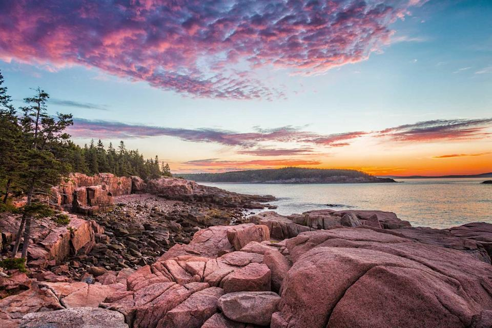 View from the rocky coastline of Mount Desert Island, Maine