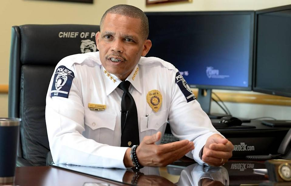 CMPD Chief Johnny Jennings says his department will undergo customer-service training in hopes of improving frayed community trust in his officers.