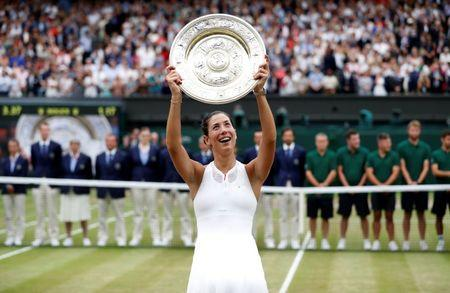 Tennis - Wimbledon - London, Britain - July 15, 2017   Spain's Garbine Muguruza poses with the trophy as she celebrates winning the final against Venus Williams of the U.S.     REUTERS/Matthew Childs