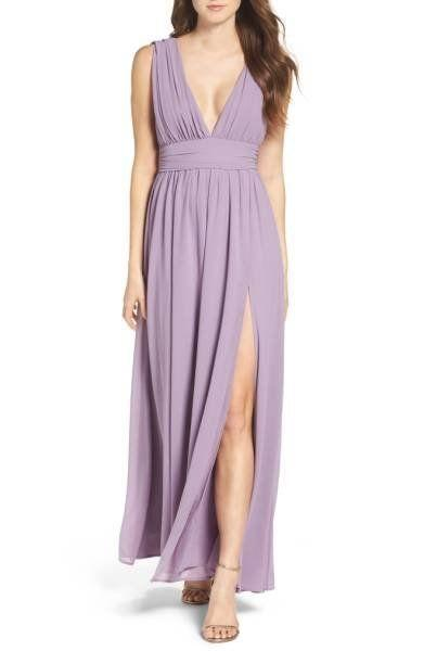 "This plunging v-neck gown comes in so many colors that will complement any fall wedding theme. Get it at <a href=""http://shop.nordstrom.com/s/lulus-plunging-v-neck-chiffon-gown/4403034?origin=category-personalizedsort&fashioncolor=BLUSH"" target=""_blank"">Nordstrom for $84</a>."