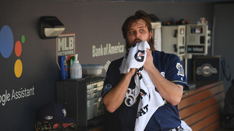 Brewers remove Miley after one batter against Dodgers