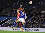 Two good: Victor Osimhen scored twice for Napoli against Leicester (AFP/Oli SCARFF)
