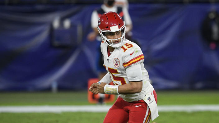 Kansas City Chiefs quarterback Patrick Mahomes (15) watches the play during the first half of an NFL football game against the Baltimore Ravens, Monday, Sept. 28, 2020, in Baltimore. (AP Photo/Nick Wass)
