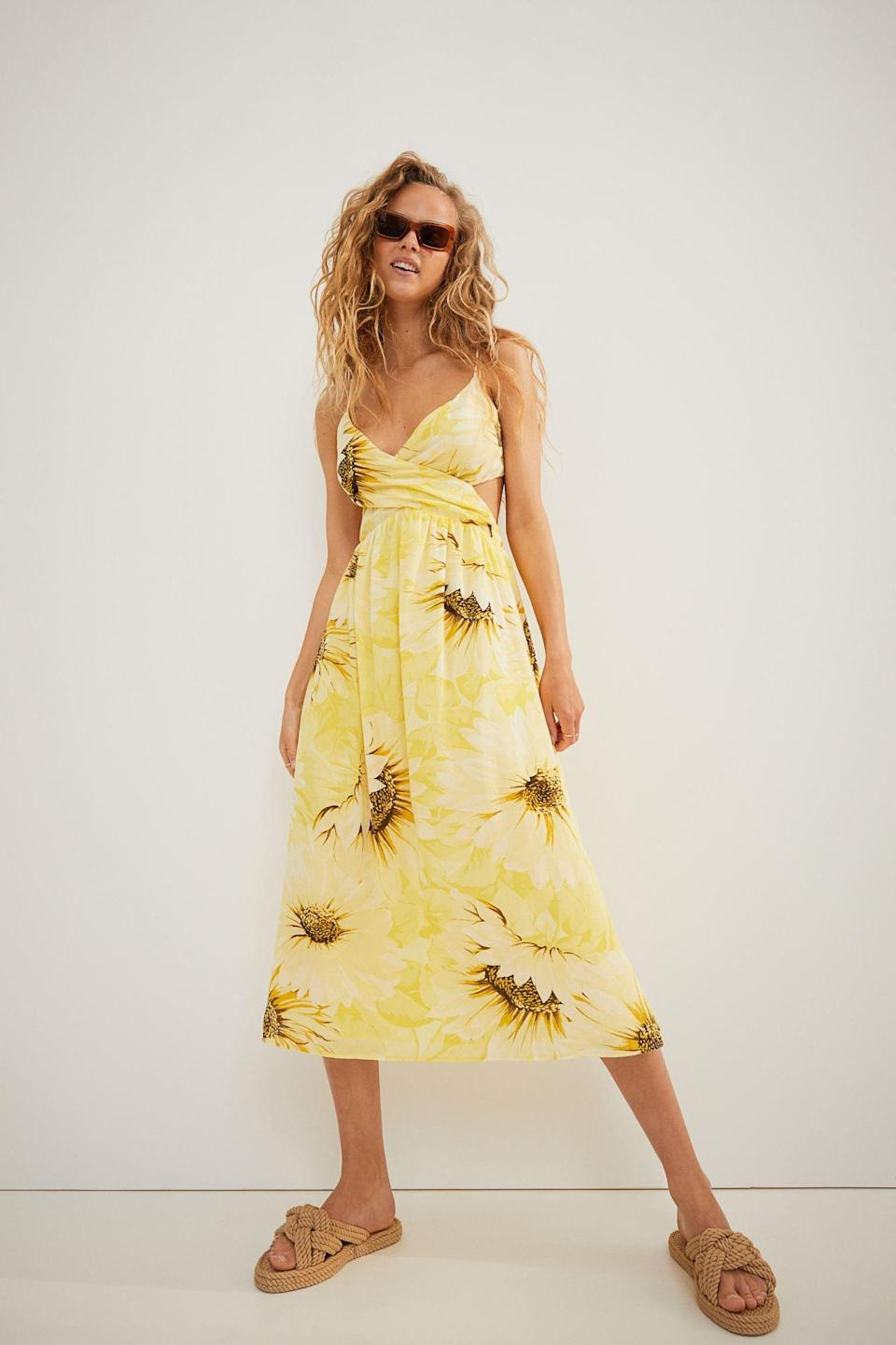 <p>The lovely Leo adores being the center of attention, and in this sunflower-printed cutout <span>H&amp;M V-Neck Cotton Dress</span> ($35), they can let out their inner lion.</p>