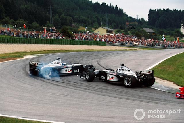 "Mika Hakkinen, McLaren MP4/14 spins after being hit by team mate David Coulthard, McLaren MP4/14 <span class=""copyright"">Sutton Images</span>"