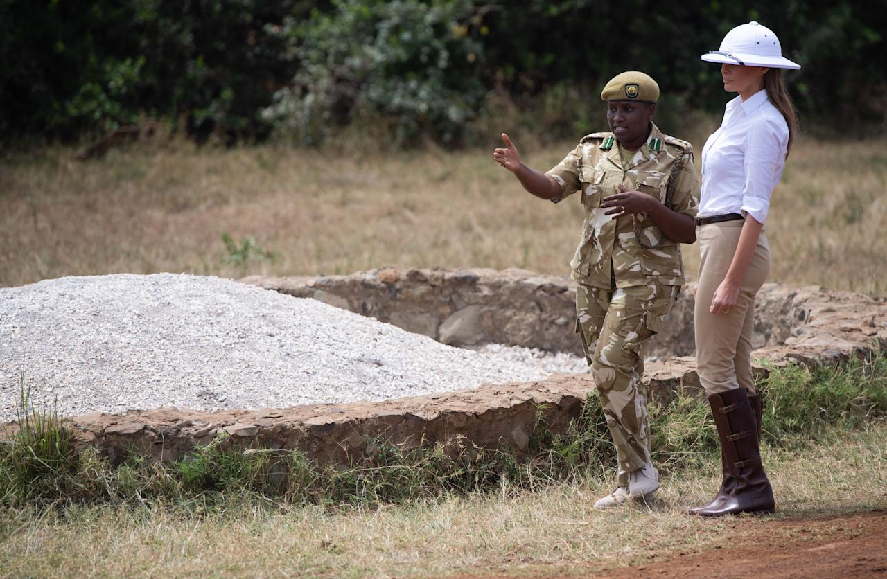 <p>A colonial-era hat caused controversy during Melania's Africa trip. Photographed wearing the white pith helmet during a safari in Nairobi National Park, the First Lady was quickly called out for the bad taste sartorial choice. The accessory was favoured by British officers in Africa in the late 19th century and has since become a symbol of colonial rule and oppression. <em>[Photo: Getty]</em> </p>