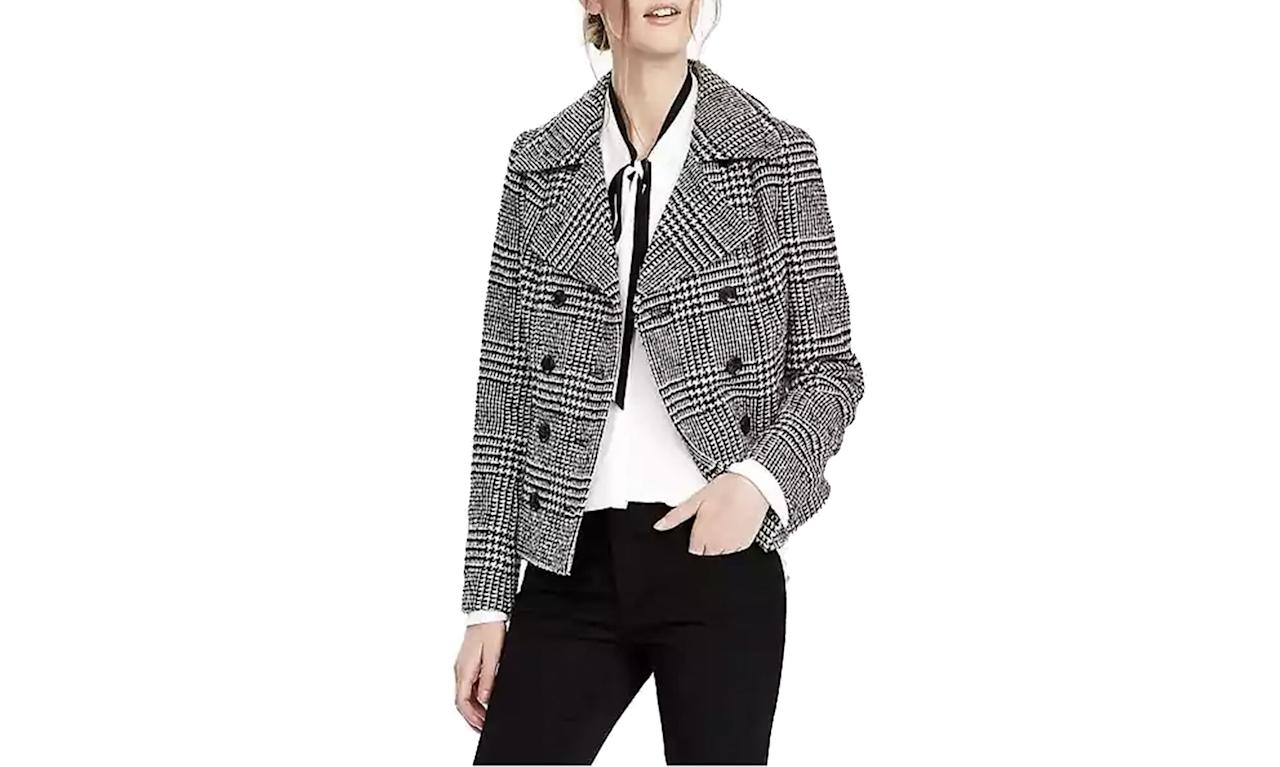 "<p>Banana Republic Plaid Jacket, from $178 to $139.99, <a rel=""nofollow"" href=""http://bananarepublic.gap.com/browse/product.do?cid=1014734&vid=1&pid=307755002"">Bananarepublic.com</a> </p>"