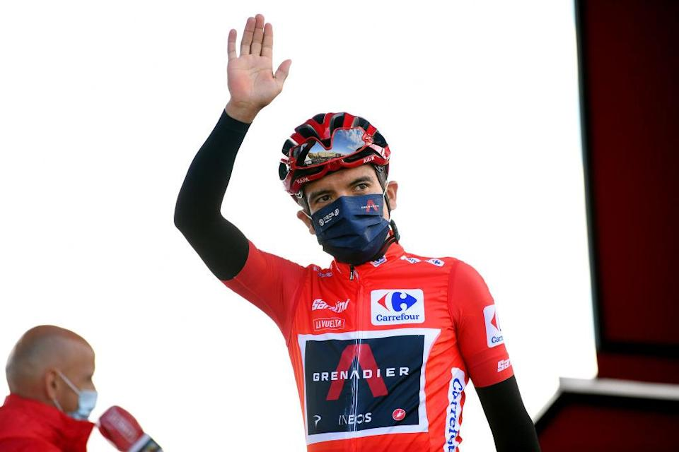 ALTODEMONCALVILLO SPAIN  OCTOBER 28 Start  Richard Carapaz of Ecuador and Team INEOS  Grenadiers Red Leader Jersey  Mask  Covid safety measures  Team Presentation  during the 75th Tour of Spain 2020 Stage 8 a 164km stage from Logroo to Alto de Moncalvillo 1490m  lavuelta  LaVuelta20  on October 28 2020 in Alto de Moncalvillo Spain Photo by David RamosGetty Images